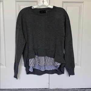 Grey Sweater with stripe underlay